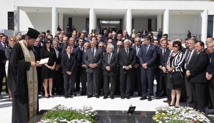 Από το μνημόσυνο για τα 18 χρόνια από το θάνατο του Κωνσταντίνου Καραμανλή,στις 25 Απριλίου 2016.