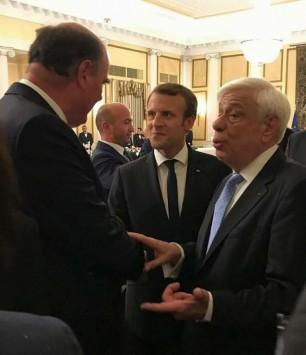 Από το δείπνο του Προέδρου της Δημοκρατίας με τον Πρόεδρο της Γαλλικής Δημοκρατίας και τη σύζυγό του, στις 10 Σεπτεμβρίου 201717